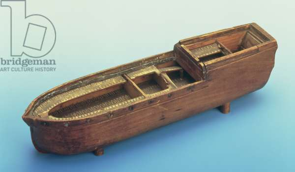 Model of the slave ship 'Brookes' used by William Wilberforce in the House of Commons to demonstrate conditions on the middle passage (wood) (see also 136291)