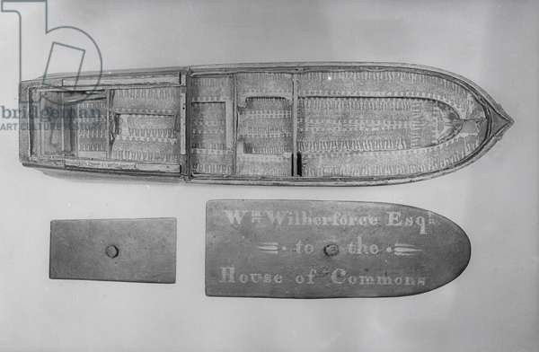 Model of the slave ship 'Brookes' used by William Wilberforce (1759-1833) in the House of Commons to demonstrate conditions on the middle passage, 18th century (wood) (see also 112029, 136291 and 135588)
