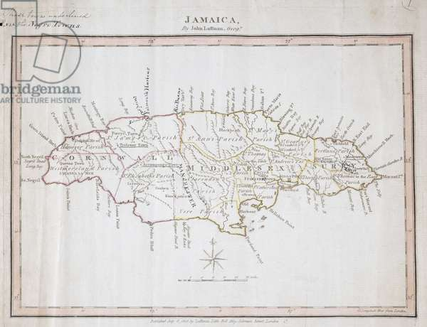 Map of Jamaica showing maroon settlements underlined, where runaway slaves found refuge, 1805 (ink on paper)