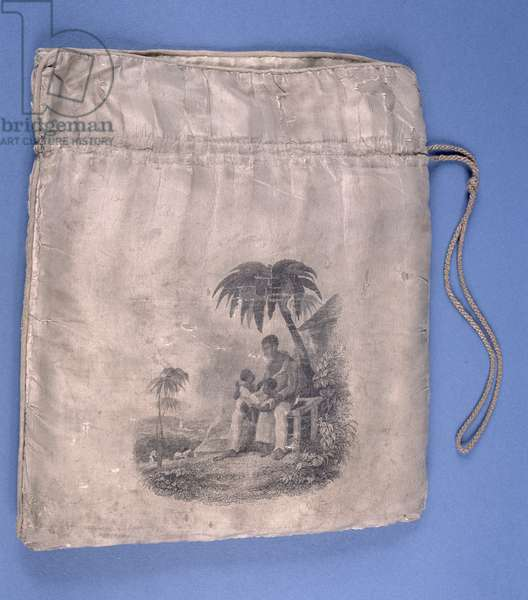 An anti-slavery workbag, depicting a slave (cloth) (see 146801 for reverse)