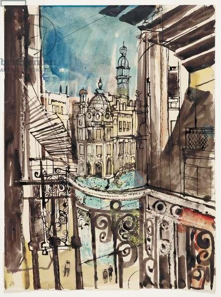 Valencia, Spain, 1948 (pen & ink, brush & ink, crayon wax, w/c)
