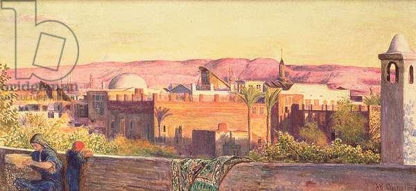 Cairo: Sunset on the Gebel Mokattum, 1884 (w/c and surface scratching)