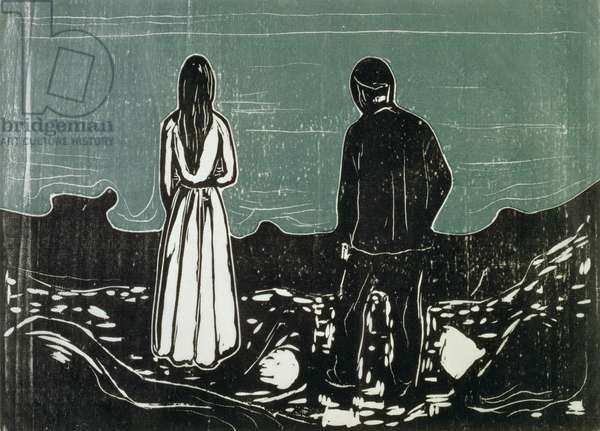Two People, The Lonely Ones (woodcut)