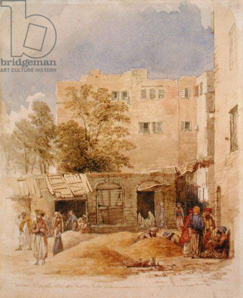 The Corn Market, Beirut (pencil and watercolour on paper)