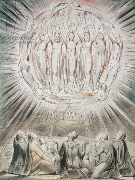 The Angels appearing to the Shepherds, 1809 (w/c, pencil, pen & brown ink on paper)