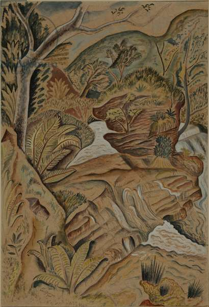 The Waterfall, Afon Honddu Fach, Breconshire, Wales, 1926 (pencil, w/c and bodycolour on paper)