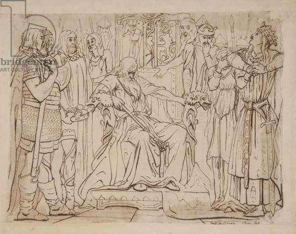 France claims the dispossessed Cordelia, 1844 (pencil with pen & ink on paper)