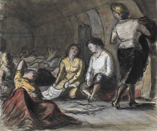 Women in an Underground Shelter, London, 1941 (pencil, pen, ink & w/c on paper)
