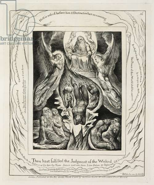 Illustrations of The Book of Job: The Fall of Satan, 1825 (line engraving on paper)