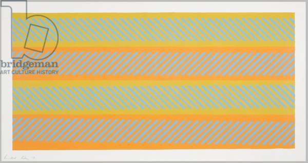 Blue Diagonals on Ochre and Orange, 1971 (bodycolour & pencil on paper)