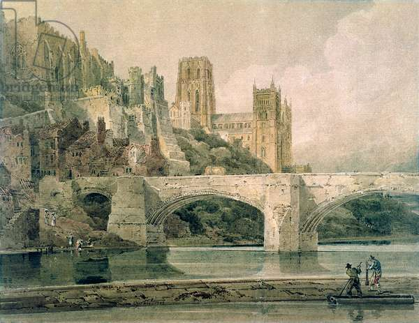 Durham Cathedral and Bridge, 1799 (watercolour, pencil and surface scratching on paper)