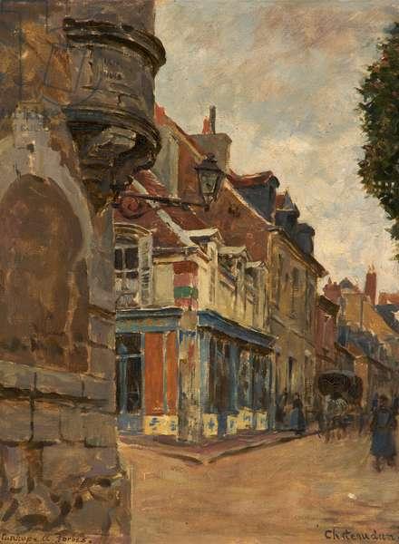 Chateaudun, Street Scene, 1901 (oil on board)