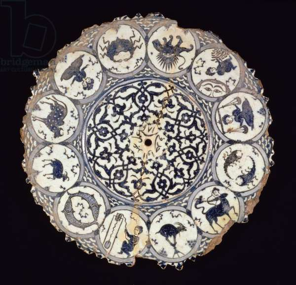 Plate depicting the signs of the Zodiac, Safavid period, 1563-64 (faience with blue and white glaze)