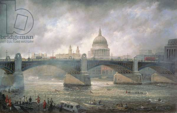 St. Paul's Cathedral from the Southwark Bank, Doggett Coat and Badge Race in Progress
