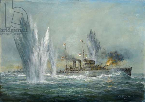 HMS Exeter engaging in the Graf Spree at the Battle of the River Plate, 2009 (oil on canvas)