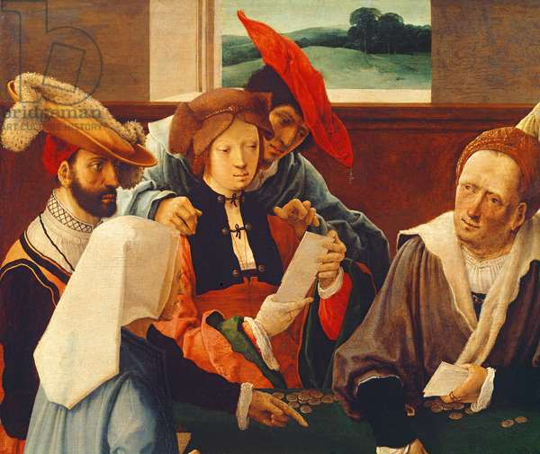 The Card Players (oil on panel) (detail of 69590)