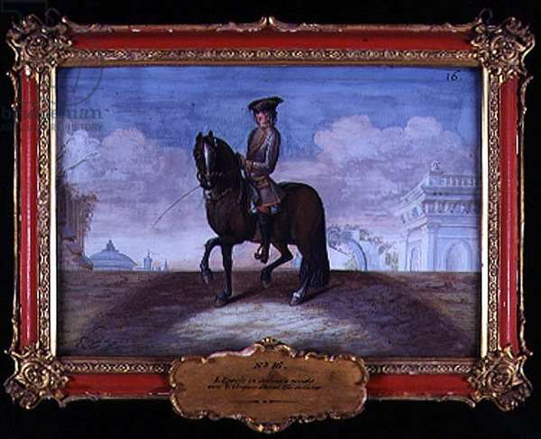 No. 16 A cherry bay horse of the Spanish Riding School performing a dressage step (w/c on paper)