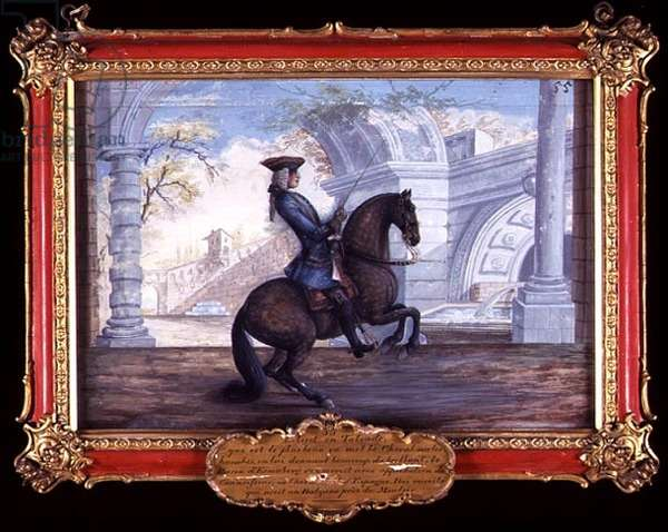 No. 55 A Spanish dappled bay horse of the Spanish Riding School performing a dressage movement (w/c on paper)