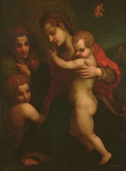 Madonna and Child, St. John and two Angels (oil on canvas)