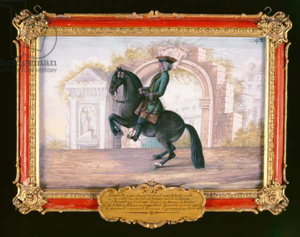 No. 42 'Agrable', a dark fawn horse of the Spanish Riding School performing a dressage movement called a 'Curvet' (w/c on paper)