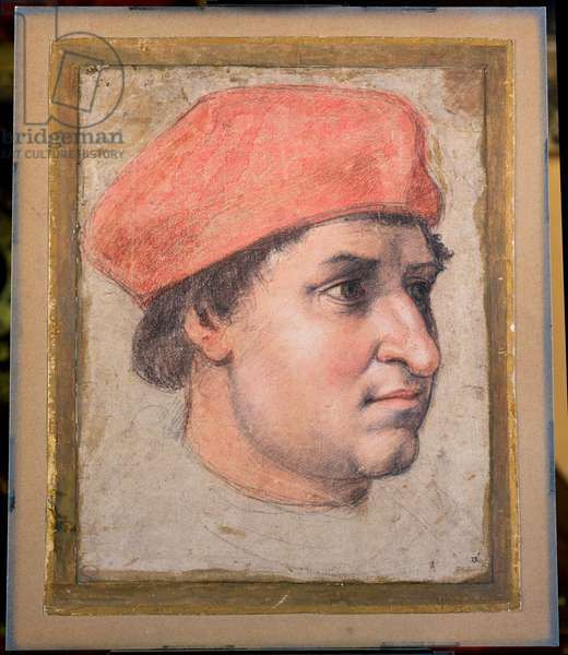 Portrait of a Cardinal, c.1513/20 (black, red and white chalk on paper)