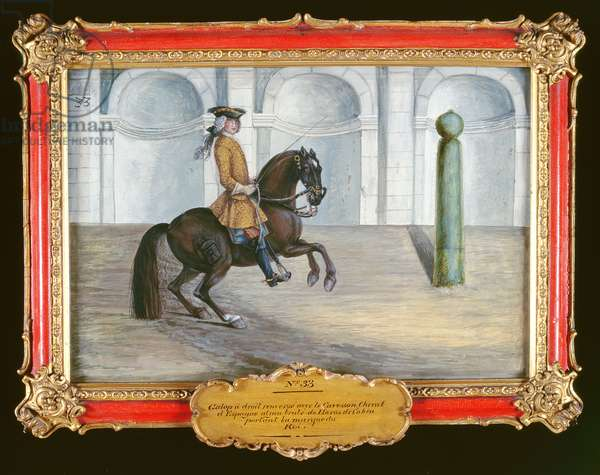 No. 33 A Spanish horse of the Spanish Riding School performing a dressage movement (w/c on paper)
