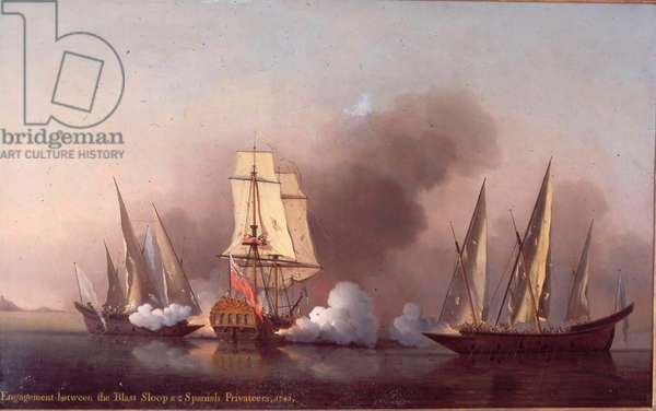 The Engagement between the Blast Sloop and two Spanish Privateers, 1745 (oil on canvas)
