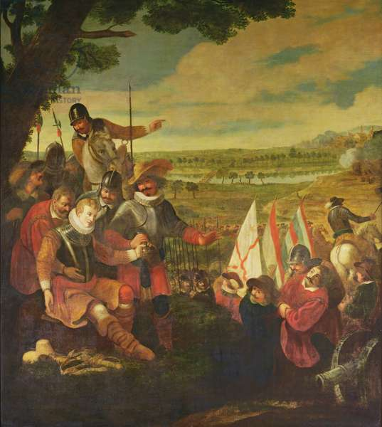 The Wounding of Sir Philip Sidney (1554-86) at the Battle of Zutphen, 22nd September 1586 (oil on canvas)