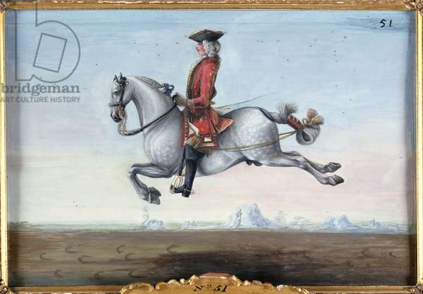 No. 51 A dappled grey horse of the Spanish Riding School performing a dressage movement called a 'Capriole' (w/c on paper)