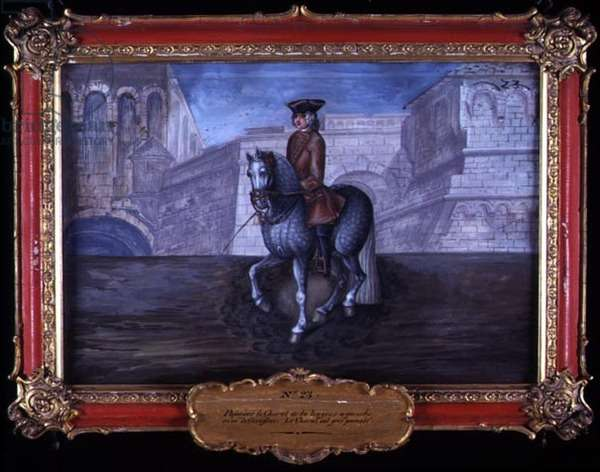 No. 23 Dappled grey horse of the Spanish Riding School performing dressage steps (w/c on paper)