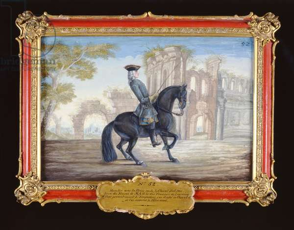 No. 52 'Le Bienvenu', a dark bay horse of the Spanish Riding School performing a dressage movement (w/c on paper)