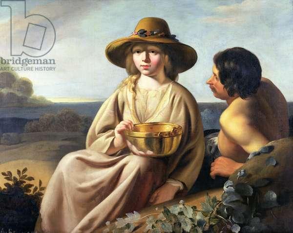 Shepherd and Shepherdess (oil on canvas)