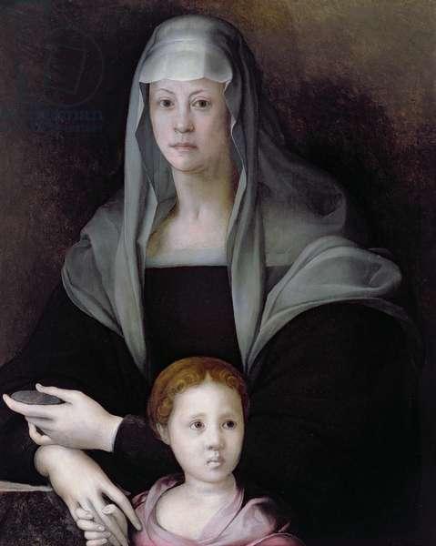 Portrait of Maria Salviati with Giulia de' Medici, c.1539 (oil on panel)