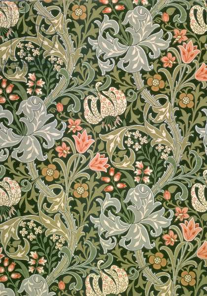 """""""Golden Lily"""" wallpaper, designed by John Henry Dearle (1860-1932) for Morris and Company, 1897"""