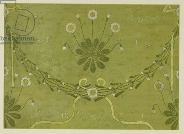 'La Margarete' wallpaper design, printed by Jeffrey and Co., 1876 (bodycolour on paper)
