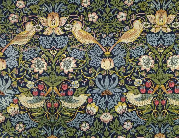 'The Strawberry Thief' textile designed by William Morris (1834-96) 1883 (printed cotton)