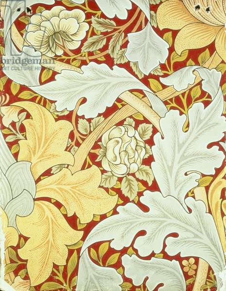 Wallpaper with acanthus leaves and wild roses on a crimson background designed by William Morris (1834-96)
