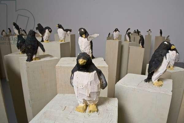 57 Penguins, 1991 (mixed media)