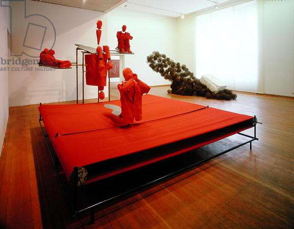 In Seurat's Asnieres, 1990-91, exhibited in 'Metropolis', 1991 (mixed media)