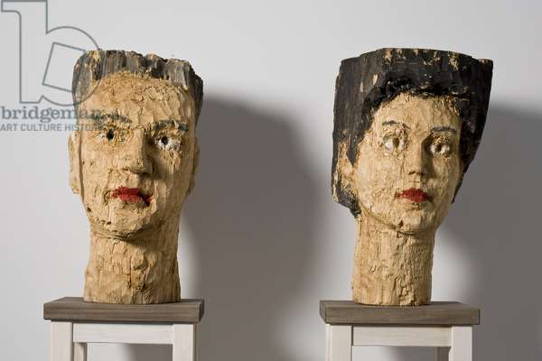Heads of a man and wife, 1982 (mixed media)