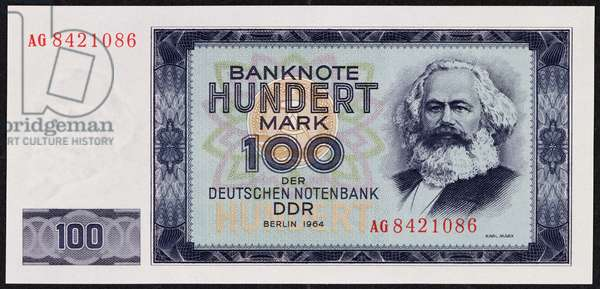 A one hundred mark banknote, 1964 (colour litho)