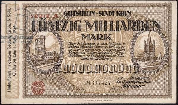 Fifty billion mark banknote, 1923 (colour lithograph)