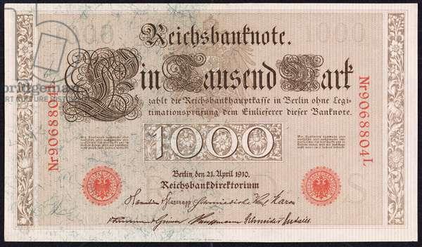 A one thousand mark banknote, 1910 (colour litho)
