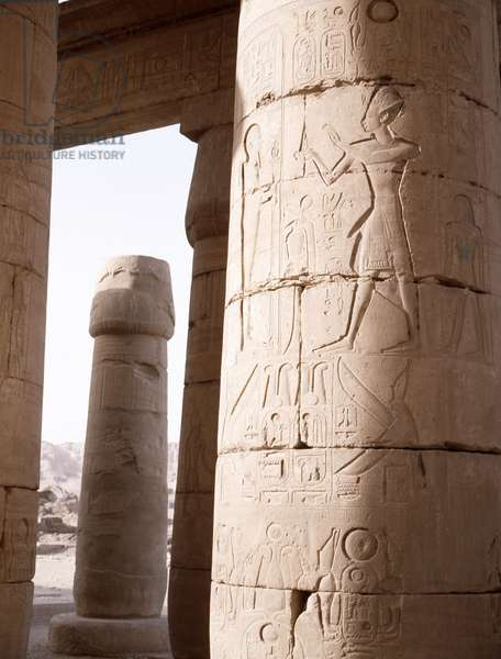 View of the Hypostyle Wall at the Ramesseum, the mortuary temple of Ramesses II