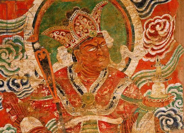 Painting (detail) of the Buddhist guardian king Vaisravana, a late Tang painting said to have come from the temples at Kucha, to the west of Turfan, along the northern route of the Silk Road