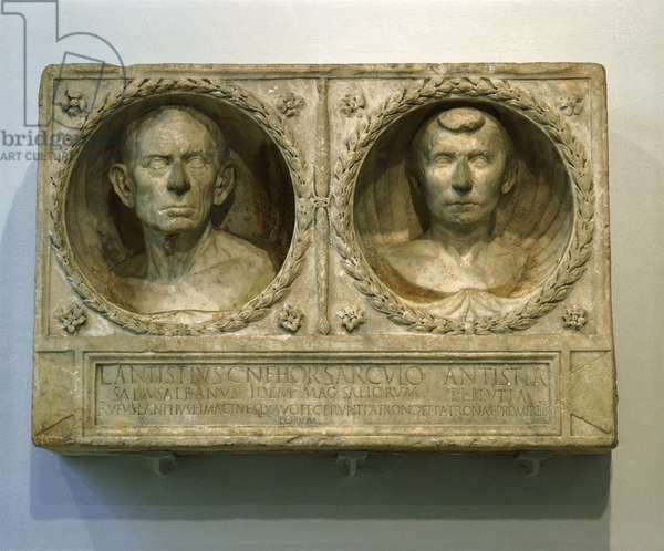 Part of the funerary monument of Lucius Antistius Sarculo, a free-born Roman priest of the Salian order and his wife and freedwoman, Antistia Plutia
