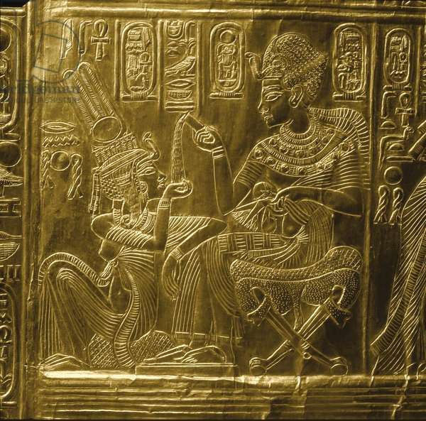 A detail of the gilt shrine of Tutankhamun which originally contained statuettes of the royal couple