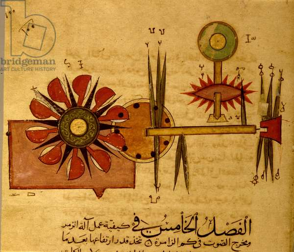 Miniature from a Mamluk copy of the 'Automata of al Jaziri' or the 'Book of Knowledge of Mechanical Devices'