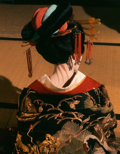 A geisha in traditional dress and make-up