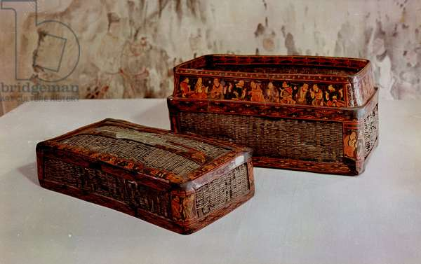 Found in a Han tomb in the Chinese colony of Lelang in north Korea (Nangnang), these lacquered baskets bear representations of model sons